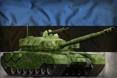 Heavy tank with pixel forest camouflage on the Estonia national flag background. 3d Illustration. Heavy tank with pixel forest camouflage on the Estonia flag vector illustration