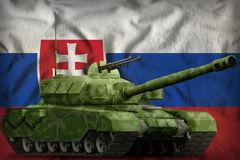 Heavy tank with pixel forest camouflage on the Slovakia national flag background. 3d Illustration. Heavy tank with pixel forest camouflage on the Slovakia flag vector illustration