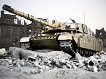 Heavy tank in position with a destroyed city ruins in background. 3d rendering Royalty Free Stock Images