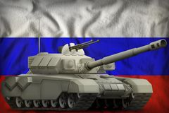 Heavy tank on the Russia national flag background. 3d Illustration. Heavy tank on the Russia flag background. 3d Illustration Royalty Free Stock Images