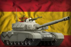 Heavy tank on the Spain national flag background. 3d Illustration. Heavy tank on the Spain flag background. 3d Illustration stock illustration