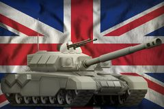 Heavy tank on the United Kingdom UK national flag background. 3d Illustration. Heavy tank on the United Kingdom UK flag background. 3d Illustration stock illustration