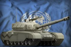 Heavy tank on the United Nations national flag background. 3d Illustration. Heavy tank on the United Nations flag background. 3d Illustration royalty free illustration