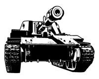 Heavy tank. Vector black and white illustration of heavy tank Royalty Free Stock Images