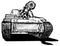 Heavy tank. Vector drawing of heavy tank stylized as engraving vector illustration
