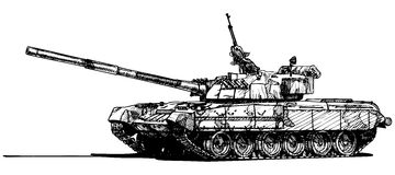 Heavy tank. Vector drawing of heavy tank. stylized as engraving Stock Photos