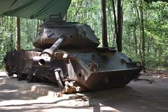 Heavy Tank at Vietcong tunnel systems in Cu Chi in Vietnam, Asia royalty free stock photography