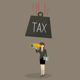 Heavy tax falling to careless business woman Royalty Free Stock Photo