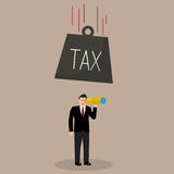 Heavy tax falling to careless businessman Royalty Free Stock Photography