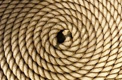 Heavy thick rope coiled neatly royalty free stock photography