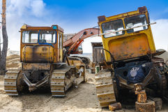 Heavy tracked vehicles for repairs Stock Images