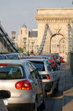 Heavy traffic. At Chain-bridge in Budapest stock photo