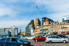 Heavy traffic along Tverskaya street of Moscow Stock Photo