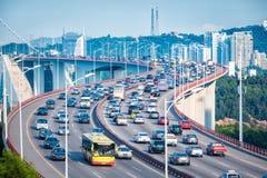 Heavy traffic in bridge closeup Stock Photos