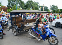 Heavy traffic through the city streets in the evening, Phnom Penh, Cambodia. August 30, 2015 Royalty Free Stock Photo