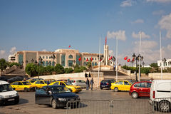 Heavy traffic close to city hall of Tunis, Tunisia Royalty Free Stock Photos