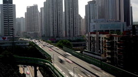 Heavy traffic and flyover in Shenzhen, China stock video
