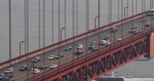 Traffic on Golden Gate Bridge in the morning. Heavy traffic on Golden Gate Bridge, connecting San Francisco to Marin County, close-up view stock video