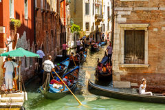 Heavy traffic of gondolas Royalty Free Stock Images