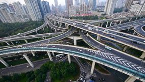 Heavy traffic on highway interchange,Aerial View of Shanghai Skyline. Aerial View of freeway busy city rush hour heavy traffic jam highway,shanghai Yan'an East stock video footage