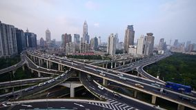Heavy traffic on highway interchange,Aerial View of Shanghai Skyline. Aerial View of freeway busy city rush hour heavy traffic jam highway,shanghai Yan'an East stock footage