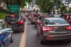 Heavy traffic jam in Bangsar Kuala LUmpur royalty free stock photo