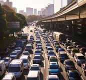 Heavy traffic jam during rush hour in shanghai , china. Description: Heavy traffic jam during rush hour in shanghai , china. This picture is in defocus Royalty Free Stock Photography