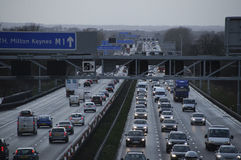 Heavy traffic on the M1 motorway England UK Royalty Free Stock Image