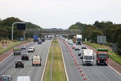 Heavy traffic M6 motorway near Scorton, Lancashire. Looking South along the M6 motorway near Scorton in Lancashire with heavy traffic in both lanes of the royalty free stock images