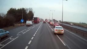Heavy traffic on M25 from truck driver`s perspective stock video