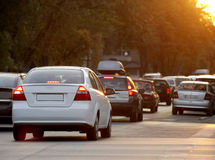 Heavy traffic in the morning. On the streets of downtown Bucharest, Romania royalty free stock photography