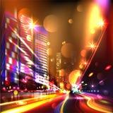 Heavy traffic.  Night highway. Glitter Trail Royalty Free Stock Photos