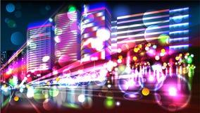 Heavy traffic.  Night highway. Glitter Trail Royalty Free Stock Photography