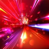 Heavy traffic.  Night highway. Glitter Trail Royalty Free Stock Photo