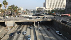 Heavy Traffic on Overpass on the 101 Freeway in Downtown Los Angeles stock video footage