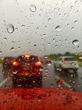 Heavy traffic during rainstorm stock photos
