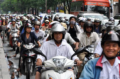 Heavy traffic in Saigon royalty free stock images