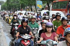 Heavy traffic in Saigon Stock Photography