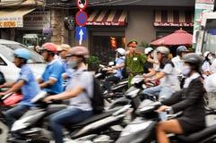 Heavy traffic in Saigon stock image