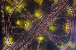 Heavy traffic on the Semanggi highway interchange. Aerial view of Jakarta heavy traffic on the Semanggi highway interchange at night time royalty free stock images