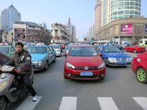 Heavy Traffic in Shanghai. A traffic jam in Shanghai, a very populous city of China with over 20 million people, where there is often heavy traffic Royalty Free Stock Photography