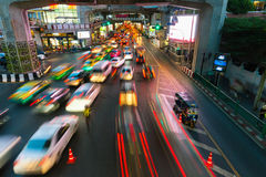 Heavy traffic at Siam Square, Bangkok, Thailand Stock Photo