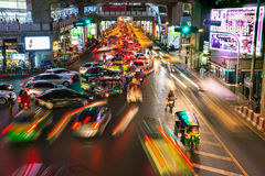 Heavy traffic at Siam Square, Bangkok, Thailand Royalty Free Stock Photos