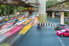 Heavy traffic at Siam Square, Bangkok, Thailand Stock Image