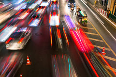 Heavy traffic at Siam Square, Bangkok, Thailand Royalty Free Stock Image