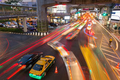 Heavy traffic at Siam Square, Bangkok, Thailand Royalty Free Stock Photography