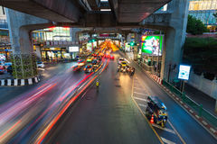 Heavy traffic at Siam Square, Bangkok, Thailand Royalty Free Stock Photo