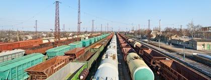 Heavy traffic in the station. Station Lozova, Kharkiv region, Ukraine stock photography
