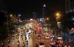 Heavy traffic street cityscape Hanoi Vietnam Royalty Free Stock Photography