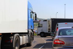 Heavy traffic to Dover port United Kingdom. A 20 road close to Dover port entrance packed with vehicles .The A20 is a major road in south-east England, carrying royalty free stock images